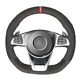 MPOQZI Cubierta de Volante de Gamuza Negra Cosida a Mano para Coche, Apta para Mercedes-Benz A 45 AMG 2016-2018 C 43 63 AMG CLA 45 2015-2018 CLS 63