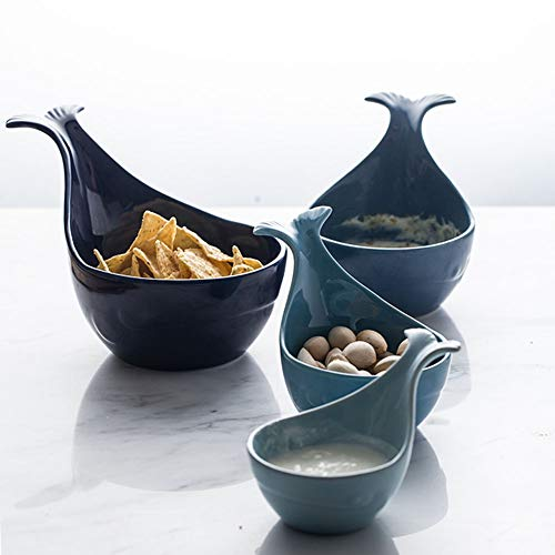 AFYBL Ceramic Whale-Shaped Bowls with Handle for Fruit, Salad, Candy, Nut, and Snack Set of 4