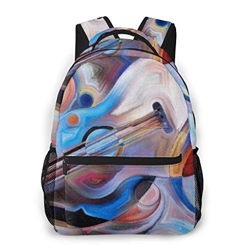Lawenp Music Note Guitar Casual Backpack For School Outdoor Travel Big Student Fashion Bag