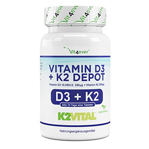 Vitamine D3 10.000 I.E + Vitamine K2 200 mcg Menaquinon MK7 Depot - 180 Comprimés - 99,7+% All-Trans (K2VITAL® by Kappa) - Végétarien - Haute Dose