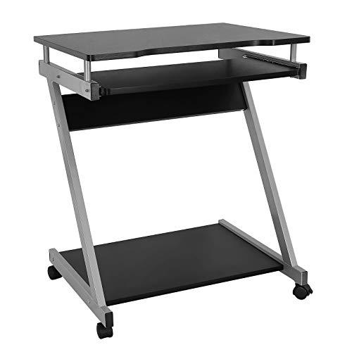 VASAGLE Schreibtisch, Computertisch mit 4 Rollen, 2 Davon mit Bremsen, PC-Tisch leichtgängiger Tastaturauszug, erleichterte Montage, platzsparender PC-Tisch in Z-Form, schwarz, LCD811B