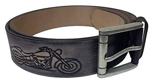 Einkaufszauber Echt Leder Gürtel Motorrad Harley Schwarz Breit (105)
