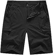 BASUDAM Men's Cargo Hiking Shorts Stretch Quick Dry Lightweight Work Shorts 6 Pockets for Camping Travel Black 36