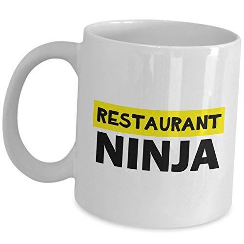 Cukudy grappig cadeau voor serveerster of ober koffie mok Cup restaurant ninja schattige gag waardering voor mannen vrouwen server keramische thee leuk baan trots geschenken restaurant cafetaria eten bestellen Taker