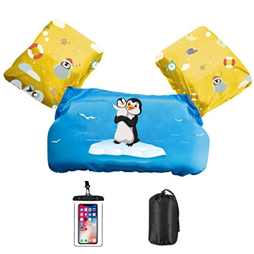 AmazeFan Kids Swim Life Jacket Vest for Swimming Pool, Swim Aid Floats with Waterproof Phone Pouch and Storage Bag,Suitable for 30-50 lbs Infant Baby Toddler Children Sea Beach
