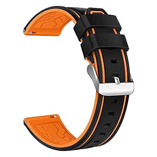 XMUXI Compatible con Samsung Gear S3 Frontier, Samsung Galaxy Watch 46 mm, correa de repuesto de silicona transpirable de 22 mm para reloj inteligente Huawei GT2 (#5).