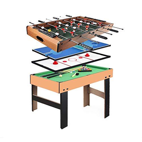 Multifunktions 4-in-1 Combo Spieltisch, Stabiler Billardtisch, Airhockey-Tisch, Tischfußball, Tischtennis-Tisch mit allem Zubehör