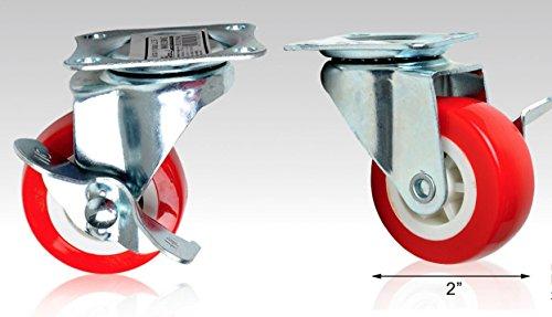 Ducomi® Ruedas Giratorias rojas para Mobile con freno bloccante–Placa de unión de PVC, rojo