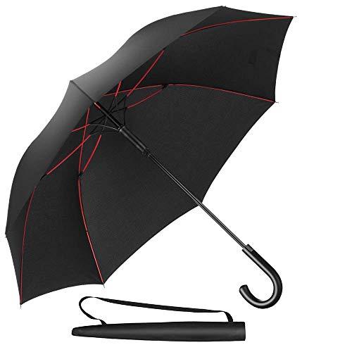 Newdora Parapluie Canne, Parapluie Automatique Coupe-Vent Incassable, Parapluie de Golf Noir 8 Baleines 210T Voyage Ecole Voiture Noir