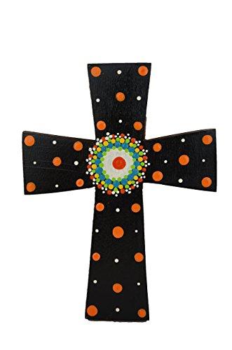 Costa Rican hand painted wall cross (Medium - Black)