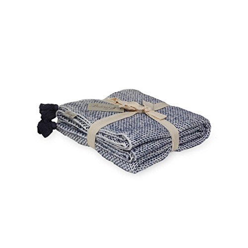 Homemania TA15004 Plaid, Materiale Sintetico, Bianco/Blu, A Una Piazza E Mezza, 170x130x0.1 cm