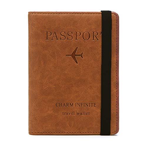 Reisepasshülle, Kunstleder Passhülle mit RFID-Blocker, Schutzhülle Tasche für Kreditkarten Damen Herren Reisepass Geschenk Passinhaberdeckel Karteninhaber, Ausweis und Reisedokumente (Kaffee)