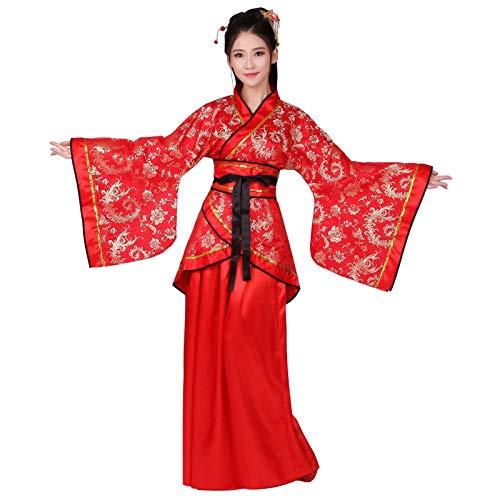 Xingsiyue Hanfu Vestido para Mujer - Antiguo Tradicional Tang Suit Falda de Hadas Disfraz Estilo Chino Vestido de Rendimiento (Rojo, XXL)