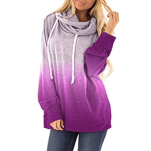 Forthery-Women Casual Hoodies Long Sleeve Sweatshirts Cowl Neck Drawstring Hooded Pullover Top(Purple,XXL)