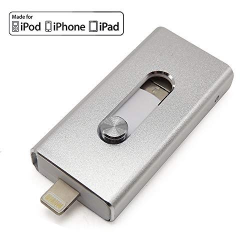 Escomdp USB 3.0 Flash Drive per Smart Phone 5, 6, 7 Plus, 3 in 1, OTG Flash Memory Stick Storage Expansion per Android Laptop PC e computer argento Silver 64 go