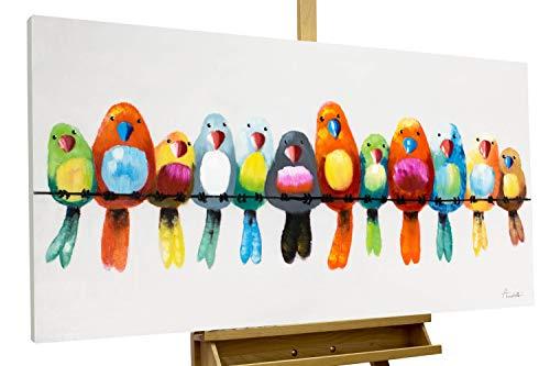 KunstLoft® Acryl Gemälde \'Freunde fürs Leben\' 120x60cm | original handgemalte Leinwand Bilder XXL | Vögel Heimat Bunt Bunt | Wandbild Acrylbild Moderne Kunst einteilig mit Rahmen