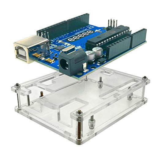EEEEE UNO R3 ATMEGA328P ATMEGA16U2 & Acryl Gehäuse Gehäuse Gehäuse (2 in 1), transparente Box mit USB-Kabel kompatibel mit Arduino IDE