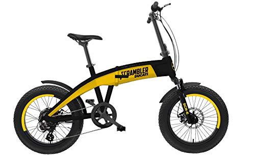 Scrambler Ducati Bike SCR-E, Bicicletta elettrica a pedalata assistita con ruote fat Unisex Adulto, giallo e nero, taglia unica