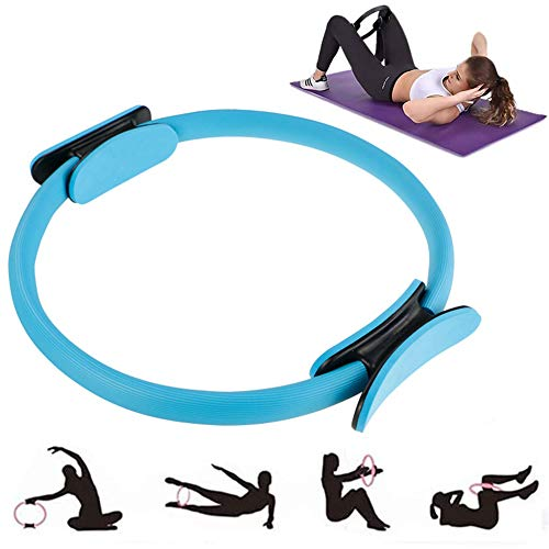 KUANDARMX Stark Pilates Circle Yoga Ring Doppelgriff Magic Exercise Fitness zur Fettverbrennung Abnehmen Form für Frauen Anwesend, Blue
