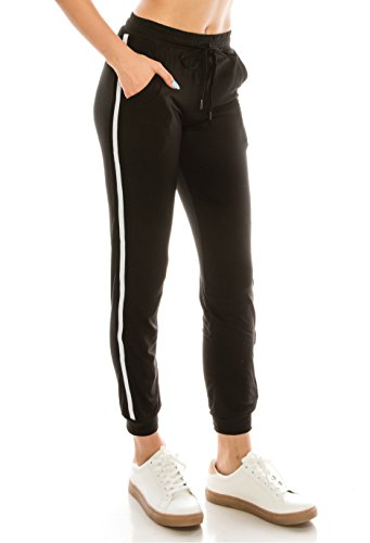 ALWAYS Women Drawstrings Jogger Sweatpants - Super Light Skinny Fit Premium Soft Stretch Pockets Track Pants Black US S (Tag S/M)