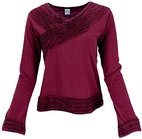GURU SHOP Camiseta de manga larga elegante para mujer, algodón, jersey, manga larga y sudaderas alternativas granate M