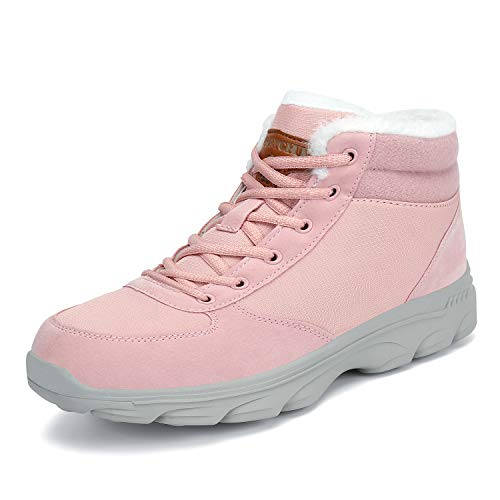 Mishansha Mens Womens Winter Snow Boots Fur Warm Outdoor Water Resistant Slip On Casual Walking Ankle Shoes Pink 9.5 Women/8 Men