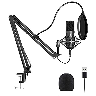 USB Microphone Kit 192KHZ/24BIT Plug & Play MAONO AU-A04 USB Computer Cardioid Mic Podcast Condenser Microphone with Professional Sound Chipset for PC Karaoke, YouTube, Gaming Recording from MAONO