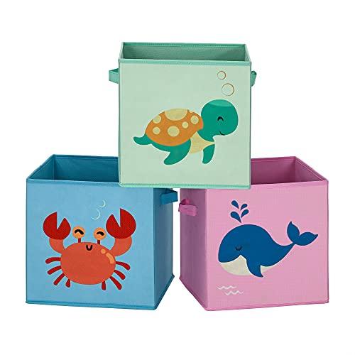 SONGMICS Set of 3 Storage Boxes, Fabric Storage Boxes for Kids with Handle, 30 x 30 x 30 cm, Foldable Toy Storage Cubes, for Kids Room, Playroom, Ocean Theme, Blue, Green, and Pink RFB701Y03