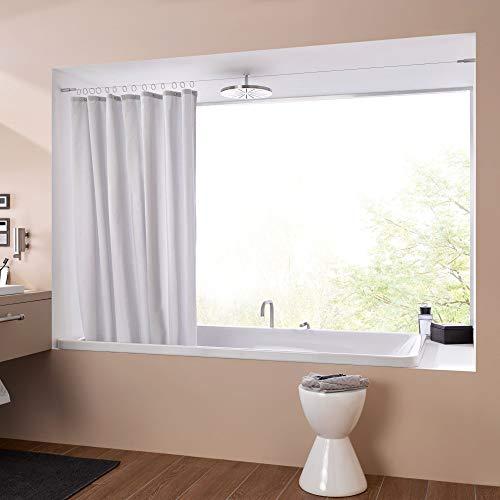 PHOS Edelstahl Design, SSA18Set5-B, Seilspanngarnitur für Duschnischen von Wand zu Wand, bis zu 5 Meter Spannweite, einkürzbar. Seilspannsystem, Duschvorhangseil, Vorhangdraht, Stahlseil Drahtseil