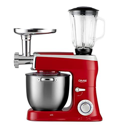DMS 3in1 Küchenmaschine Rührmaschine 7,5 Liter Knetmaschine Edelstahlschüssel Spritzschutz StandMixer Ice Crusher Fleischwolf Teigkneter 6-stufige Geschwindigkeit 2100 Watt Schwarz KMFB-2100 (Rot)