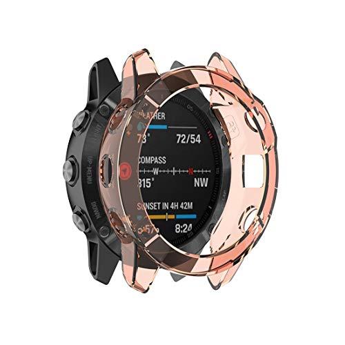 Tangyongjiao Cajas de Reloj para Garmin Fenix 6 TPU Funda Protectora de Media Cobertura para Reloj Inteligente Mira Accesorios