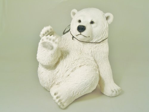 Vivid Arts Décoration en résine Ours polaire assis Taille moyenne