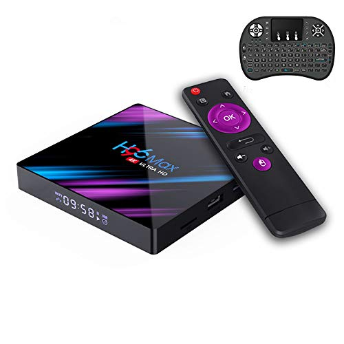H96 Max RK3318 Android 9.0 Smart Set Top Box 4GB 32GB 2.4G&5GHz Dual WiFi 4K HDR Box + with Wireless Mini Backlit Keyboard