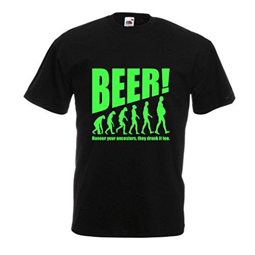 lepni.me Camisetas Hombre The Beervolution - Ideas Divertidas únicas sarcásticas del Regalo para los Amantes de la Cerveza, evolución de consumición (XX-Large Negro Verde)