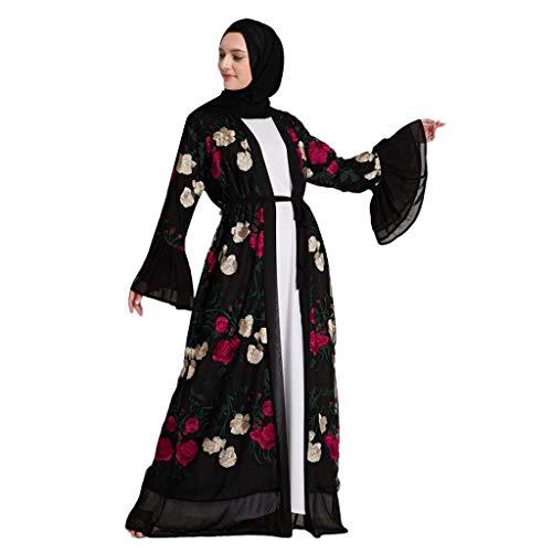 WUDUBE Mode Frauen Muslimische Robe, Muslimische Frauen Floral Elegantes Kleid Stickerei Öffnen Lange Strickjacke Langes Kleid Kimono Aba Ya Kaftan