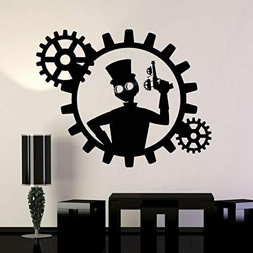 wZUN Calcomanía de Vinilo para Pared Steampunk Man Gun Gear Sticker Dormitorio decoración del hogar extraíble 63X49cm