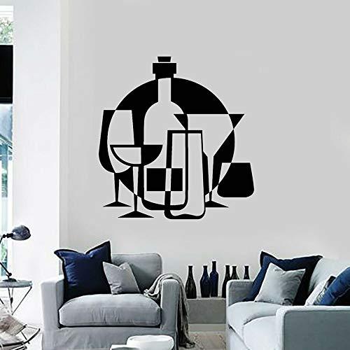Calcomanía de vinilo para pared, barra de bebidas, botella de copa de vino, pegatina de pared para cocina, calcomanía artística para ventana, Mural para restaurante