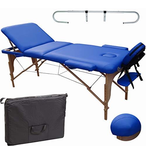 Beltom Mobile Massagetisch Massageliege Massagebank 3 zonen klappbar Blau + Rollenhalter