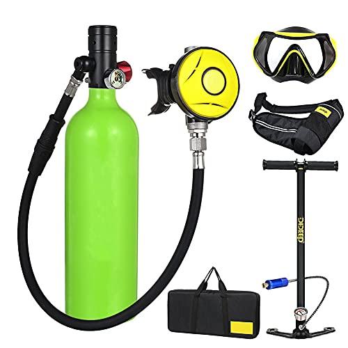 Equipo de Buceo Scuba Tanque, de Buceo Libertad de respiración bajo el Agua Durante 15 a 20 Minutos de 1L de Submarinismo Breathe Formación Bombona Oxigeno Portatil,Verde
