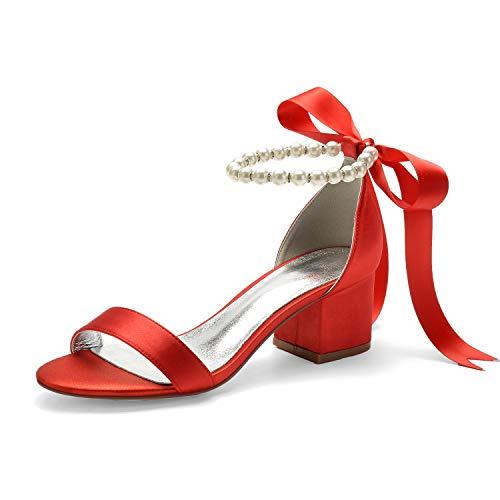 AQTEC Zapatos de Tacón Bajo Cuadrado para Mujer Elegante de Perlas con...