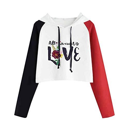 VEMOW Las Mujeres Sudadera con Capucha Cortas Lindo Gato Negro Impreso Crop Tops Sweatshirt, Encapuchado Camisa Manga Larga Pullover Blusa Otoño Invierno Elegantes Moda Deportivas Estilo(F Rojo,S)