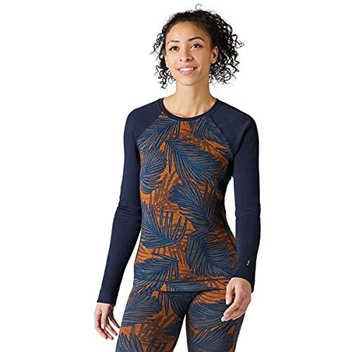 Smartwool Women's Merino 250 Pattern Crew Long Sleeve Base Layer – Moisture-Wicking, Odor-Resistant Merino Wool Shirt for Skiing, Hiking, Biking & Cold Weather Outdoor Activities - Deep Navy Palm, S