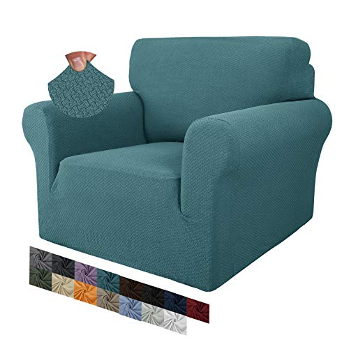 MAXIJIN Jacquard Couch Covers (1 Seater, Peacock Blue)