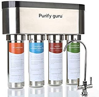 Purify Guru Stainless Steel Smart Reverse Osmosis Drinking Water Filter System, Tankless 400 GPD without Membrane