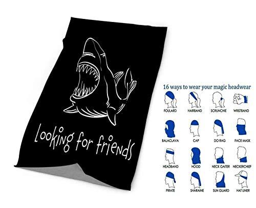 NZ Unisex stilvolle Vorlage mit Hai über Blackquick trockene Mikrofaser Kopfbedeckung Outdoor Magic Bandana als Hals Gamasche Kopfwickel Stirnband Schal Gesichtsschutz Ultra Soft Elastic One Size