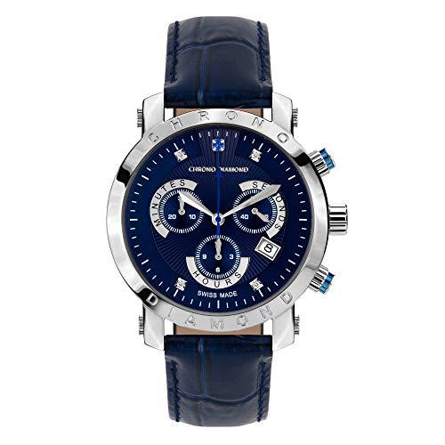 10600J Chrono Diamond Nestor Stahl Blau Leder (Blaue Zeiger)
