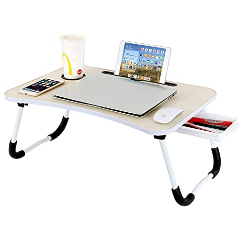 CHARMDI Foldable Laptop Table, Portable Laptop Bed Tray Table, Notebook Stand Reading Holder,Couch Table,Bed Desk with Side Drawer for Reading Book, Watching Movie on Bed/Couch- Yellow