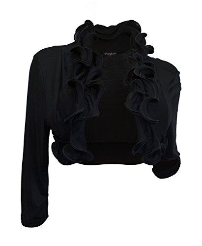 eVogues Plus size Cropped Ruffled Shawl Shrug Bolero Black - 1X
