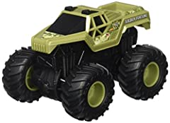 Crush the competition with these 1:43-scale monster trucks Rev them up and watch them climb over obstacles Powerful friction motors and ferocious wheel action Authentic, highly detailed decos Collect them all