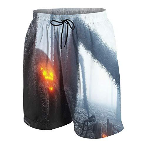 SUHOM De Los Hombres Casual Pantalones Cortos,Araña Gigante aterradora en el Bosque de la Noche de Niebla,Secado Rápido Traje de Baño Playa Ropa de Deporte con Forro de Malla